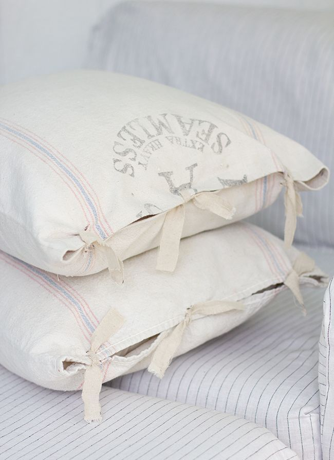 The easiest & cheapest vintage grain sack pillow covers ever! | Jenna Sue Design Blog