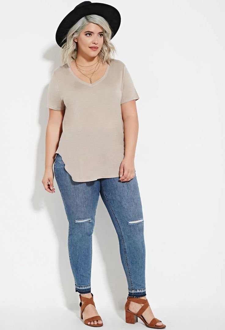 Plus Size Classic V-Neck Tee | Forever 21 PLUS #forever21plus