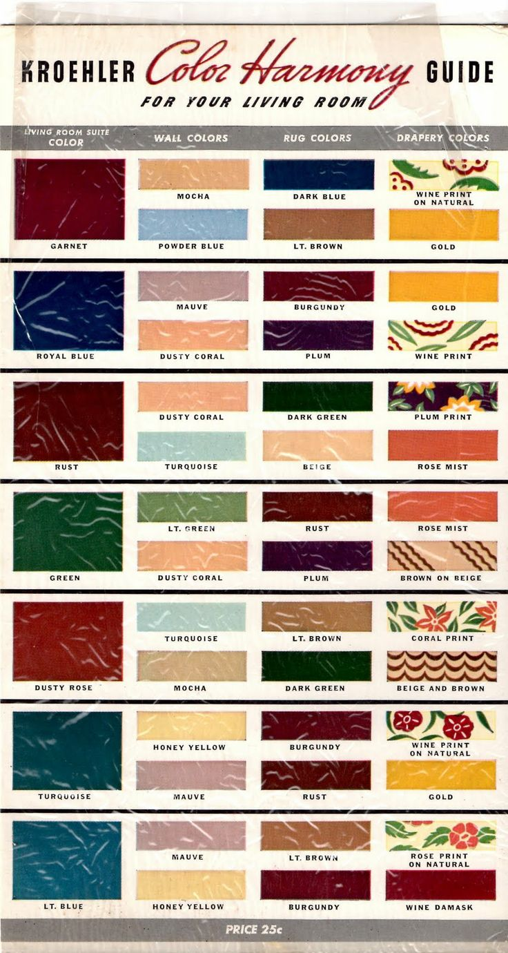 Kroehler Color Harmony Guide -- Mid Century Colorings