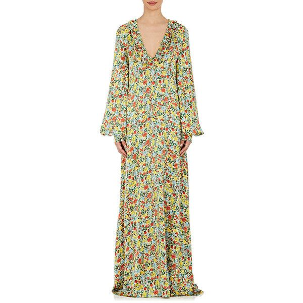 BY. Bonnie Young Women's Floral Silk Ruffle Maxi Dress (103.045 RUB) ❤ liked on Polyvore featuring dresses, no color, multi color maxi dress, v-neck dresses, v neck dress, long sleeve floral dress and long sleeve maxi dress
