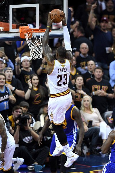 LeBron James Photos - LeBron James #23 of the Cleveland Cavaliers dunks in the second half against the Golden State Warriors  in Game 6 of the 2016 NBA Finals at Quicken Loans Arena on June 16, 2016 in Cleveland, Ohio. NOTE TO USER: User expressly acknowledges and agrees that, by downloading and or using this photograph, User is consenting to the terms and conditions of the Getty Images License Agreement. - 2016 NBA Finals - Game Six