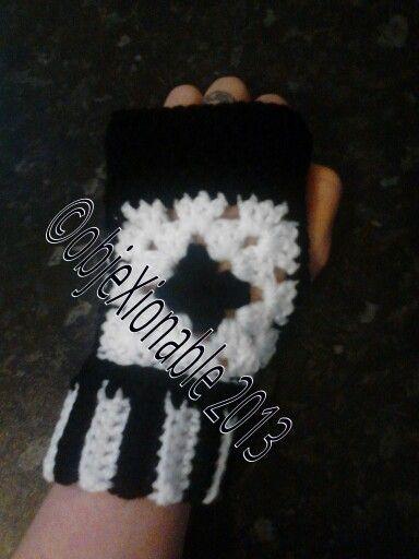 Crochet monochrome granny square emo/goth fingerless mitten/wrist warmer