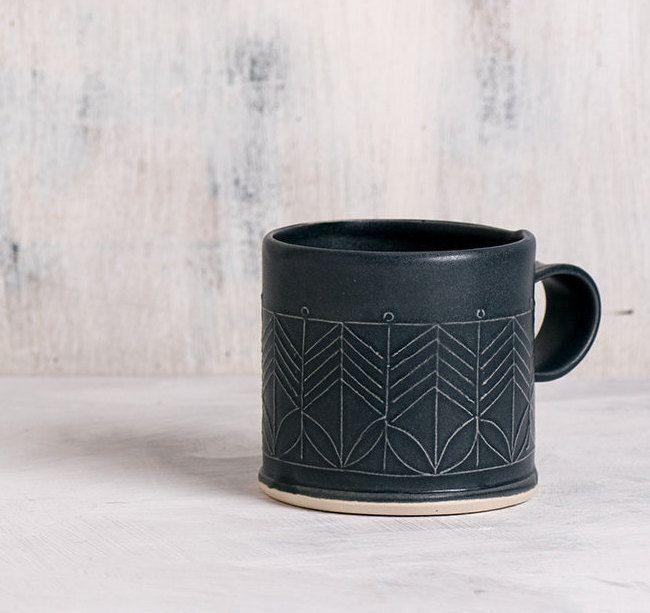 Ceramic black mug, Black Porcelain Mug, Porcelain Coffee Cup, Modern Ceramic Cup, Black Tea Cup, minimalist coffee cup, mothers day gift by FreeFolding on Etsy