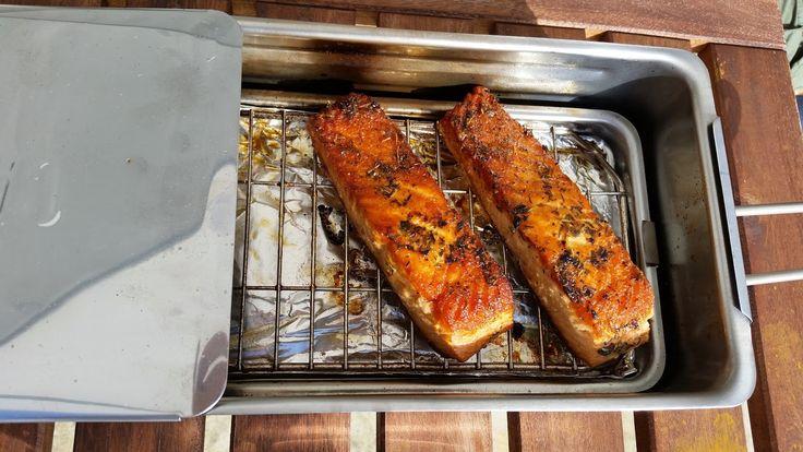 gebruik van een rookoventje voor vis, hamburgers enz.