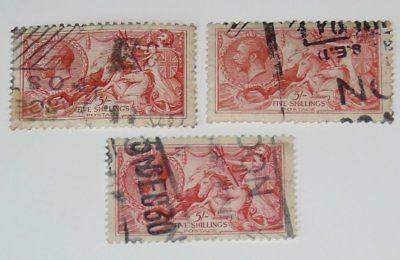 Stamp Pickers Great Britain 1919 KGV Seahorses 5/- Scott #180 x 3 FU $375+