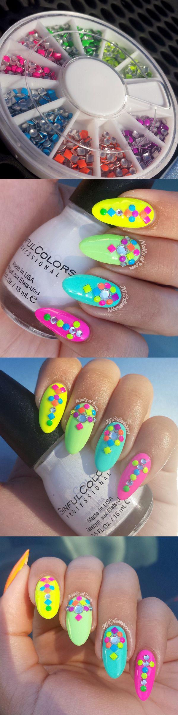 Round Square Fluorescent Dark Colors Stud Rhinestones Nail Art Decoration