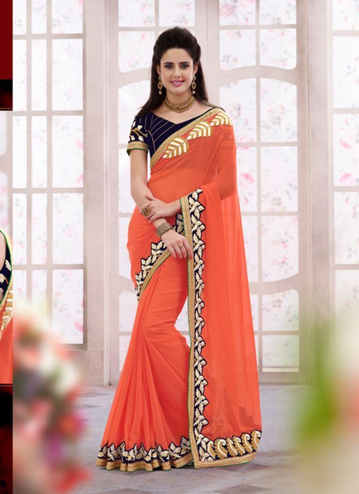 Wholesale Orange Designer Saree Supplier From India