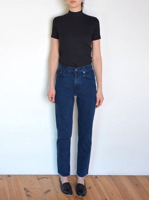 90's slim mom jeans dark blue denim high by WoodhouseStudios