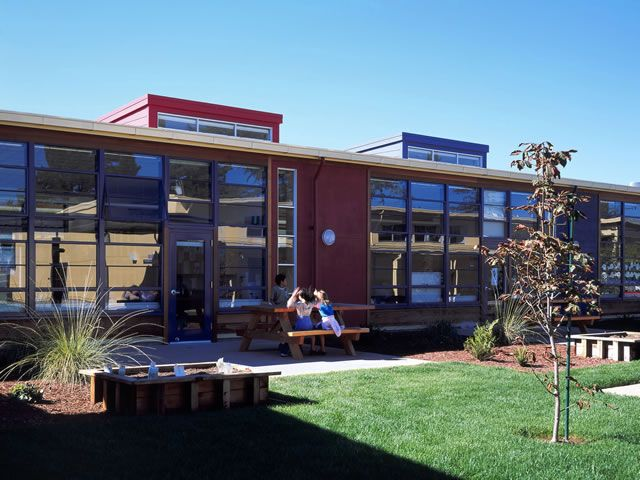 View of some Loyola Elementary school updated classrooms and beautiful landscaping.
