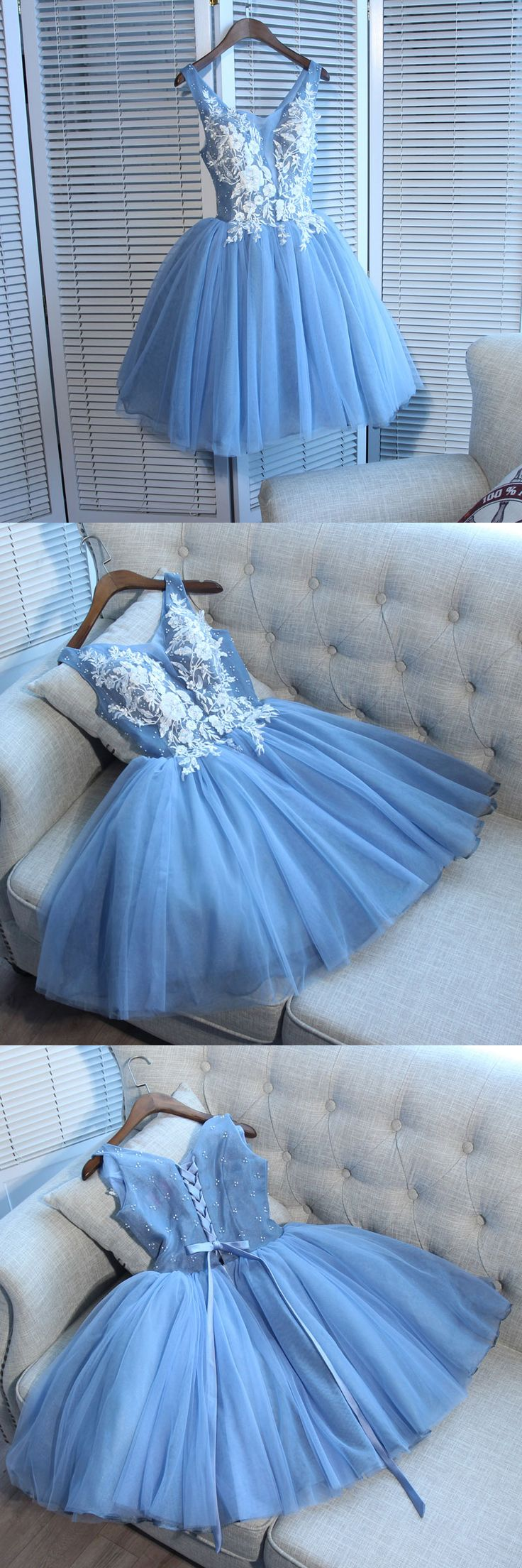 of girl | Cute blue lace short prom dress, blue homecoming dress | Online Store Powered by Storenvy