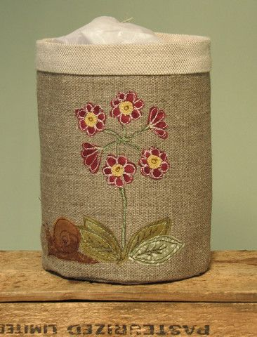 Fabric Pot with Auricula flower