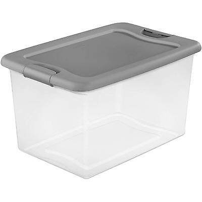 6 Set Large Plastic Storage Tote Container Clear Stackable Box with Lid Bin 18Qt