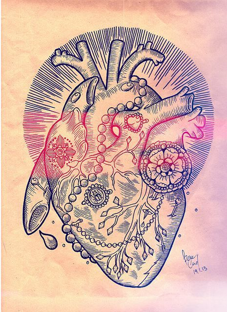 Coll heart tattoo design