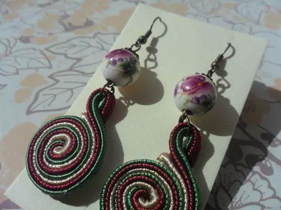 Soutache floral earrings