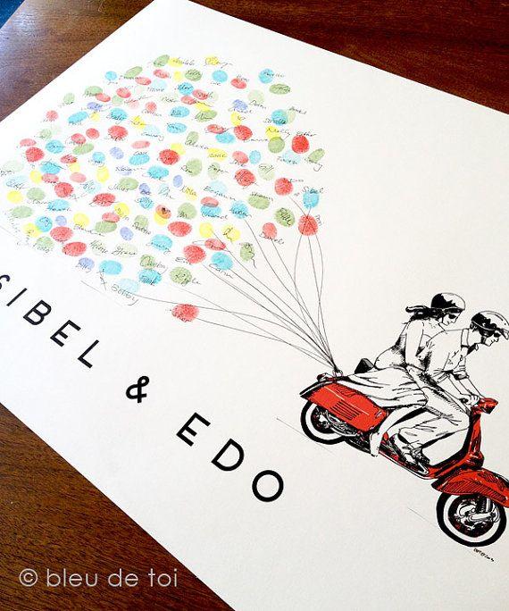 Libro de visitas de huella digital boda invitado libro