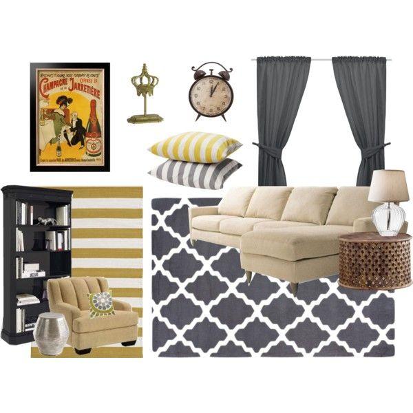 """Yellow and Grey Lounge Room"""