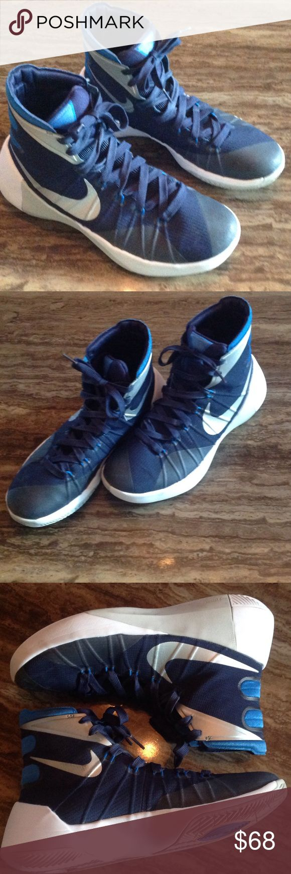 NIKE HYPERDUNK 2015 women's Basketball shoes 9.5 This is a nice pair of Nike HYPERDUNK basketball shoes in a size 9.5.  They are navy blue, electric blue, silver, grey and white.  They show some little signs of wear see photo for more condition details.   https://tmblr.co/ZWjKhc2QAtidb