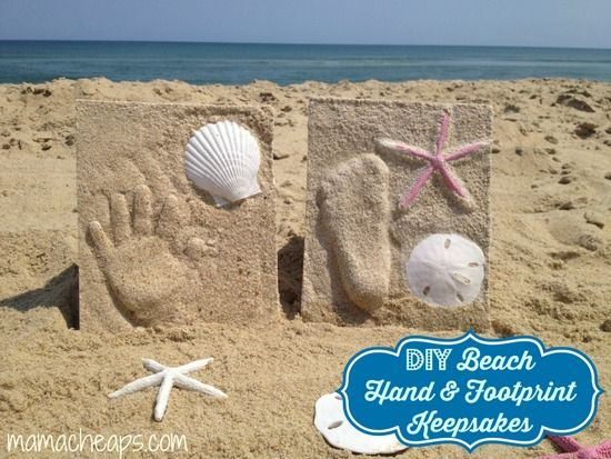 DIY Beach Sand Hand and Footprint Keepsakes - put these on the must-try list this summer.  You'll get a decoration and sweet keepsake all in one!