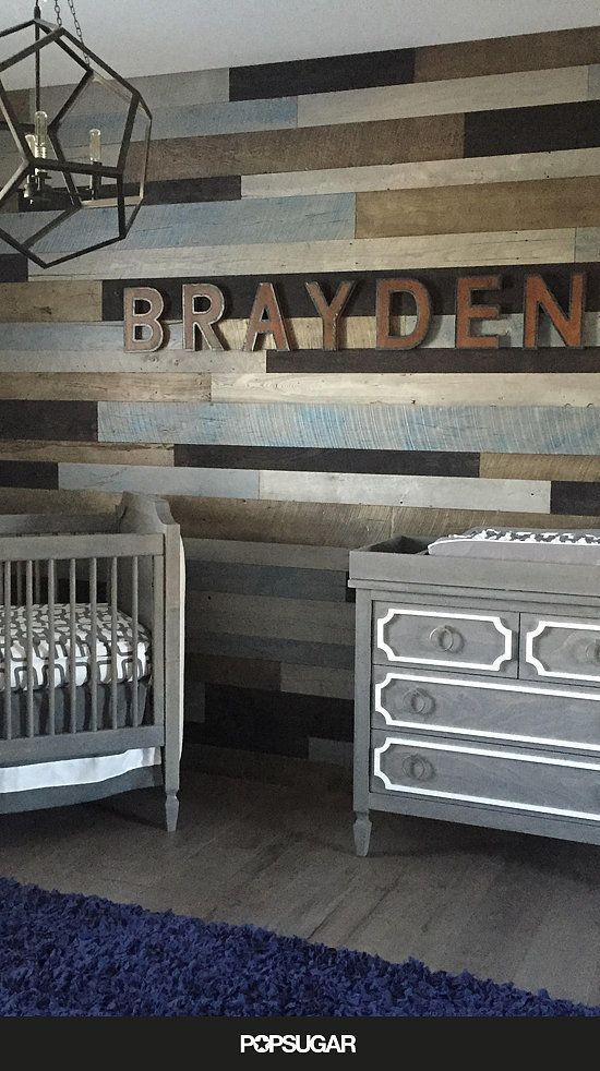 (Love the pallet accent wall, I like the different colors/stains/paint on the pallets SC)