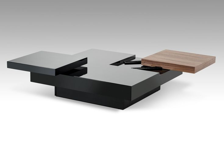 Ambry Modern Walnut and Black Coffee Table - Coffee Tables - Living Room