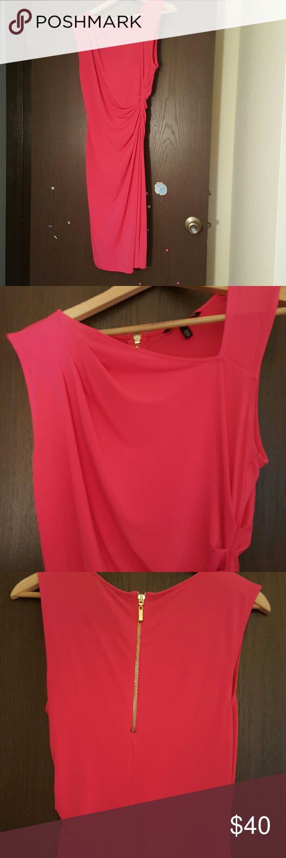 Victorias secret pink dress with asymmetrical neck Very sexy dress in hot pink color.  Fit like m. In good condition. Victoria's Secret Dresses Midi