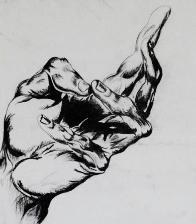 This is a dynamic hand illustration that I tried to create. I have used charcoal pencils to show precise details