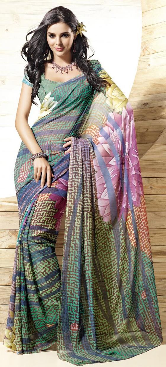 Unique Floral Printed Saree