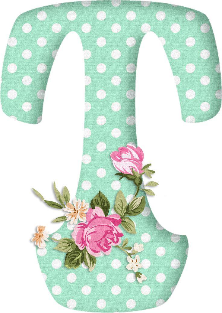 PAPIROLAS COLORIDAS: Abecedario con flores. Letras mayúsculas verdes, puntos blancos. Letra T.