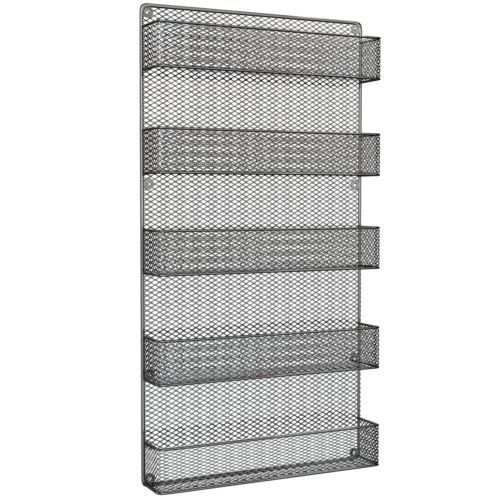 Tax-Free-Cabinet-Wall-Mount-Rustic-Wire-Mesh-Spice-Jars-Organizer-Storage-5-Tier