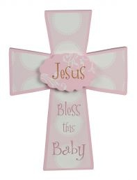 CROSS:  JESUS LOVES LITTLE GIRLSInspirational reminders of God's love for His children and the blessings of a new baby. Wooden crosses with easel backs: 146mm x 25mm x 200mm.