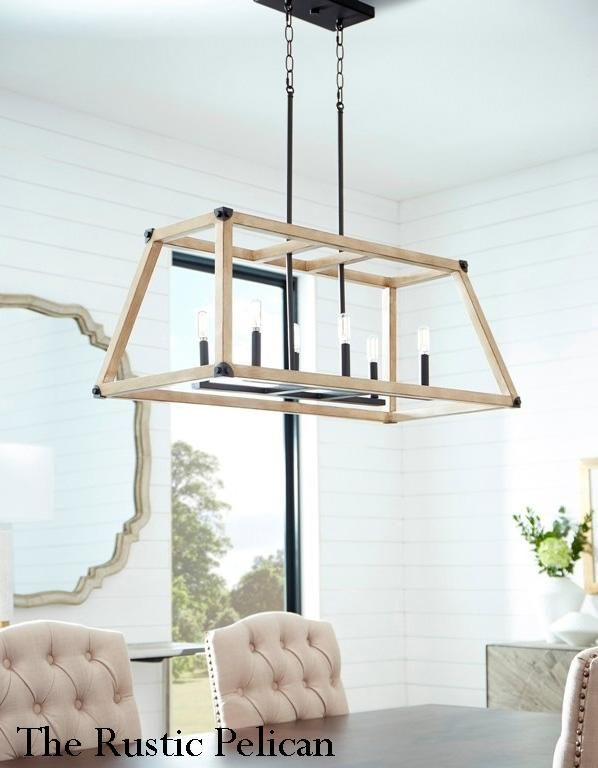 Large Modern Farmhouse Driftwood Chandelier 6 Light Black