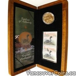 Canada 2004 $1 Wildlife Loon Coin & Stamps Set - Professional Dealers of Coins, Bank Notes and Bullion. $47.00