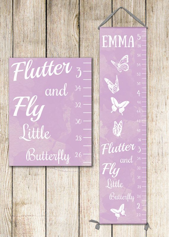 Canvas Height Chart  Girl Growth Chart Butterfly by JoliePrints
