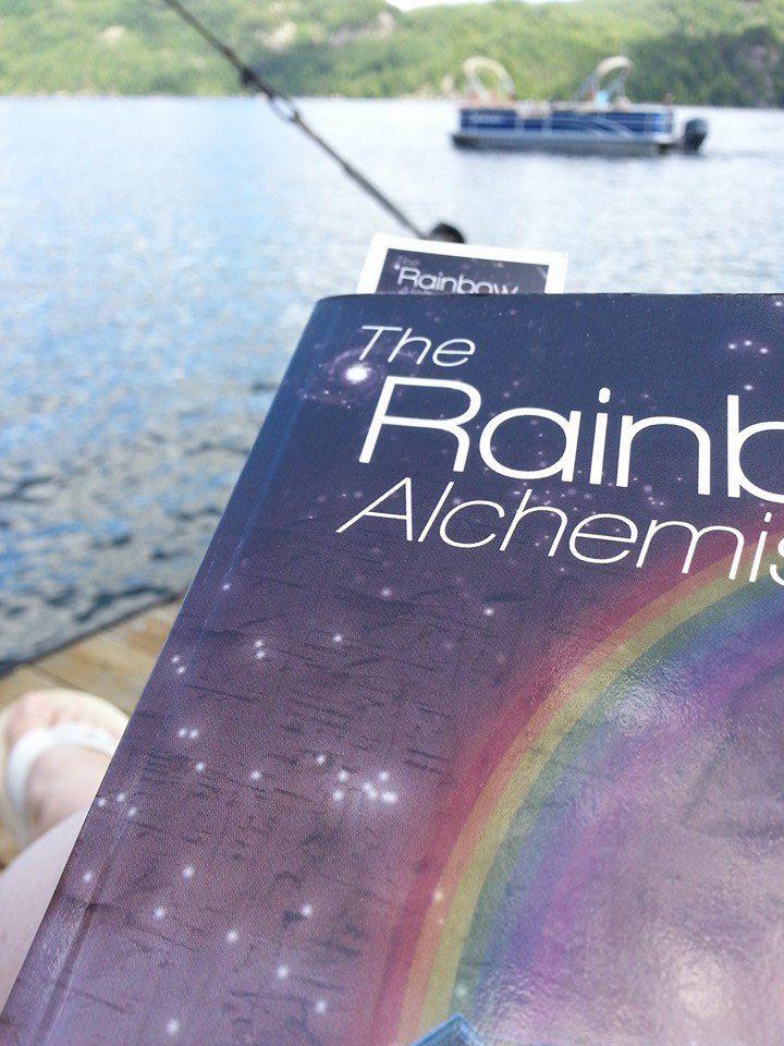 Izzy Stratford's photo, summer reading of Rainbow Alchemist at the cottage.