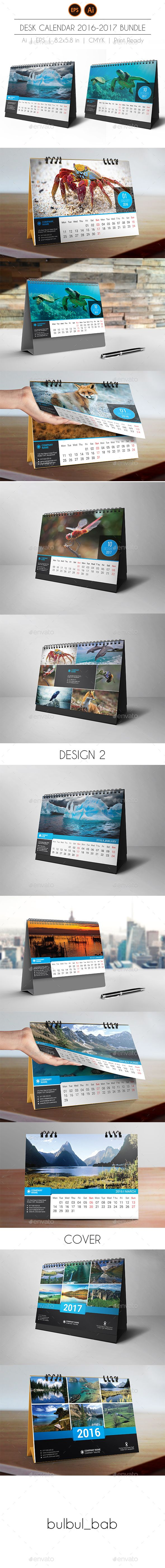 Desk Calendar 2017 Bundle Template Vector EPS, AI Illustrator. Download here: https://graphicriver.net/item/desk-calendar-2017-bundle/16653601?ref=ksioks