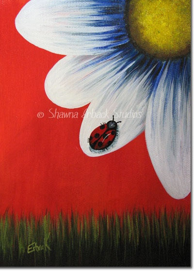 $175.00 Ladybug Painting by Shawna Erback. I love summer and the inspiration it gives me for brand new artwork. I especially love ladybugs and like it when I see them in my gardens :) This painting is framed and ready for display or gifting :)
