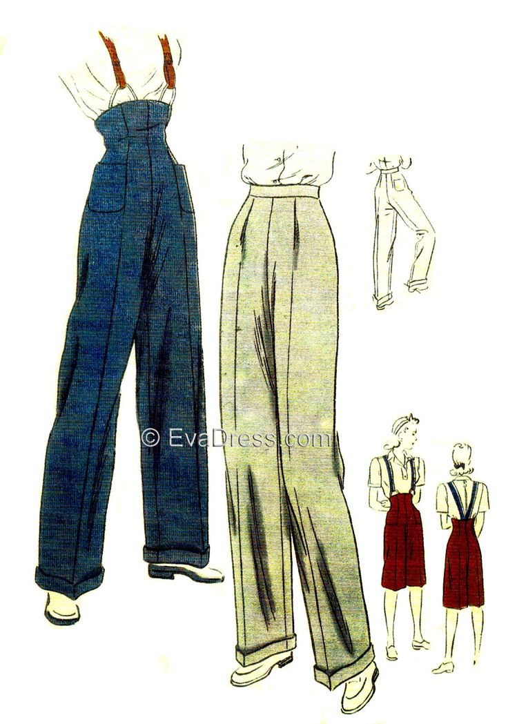 1945 Trousers & Clam Diggers. I'm digging the blue pair with the upper piece and suspenders.