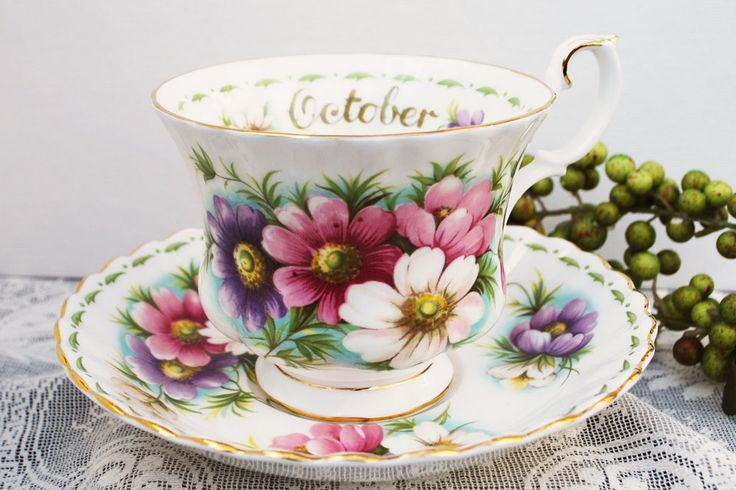 Royal Albert Cosmos Tea Cup and Saucer, October Flower of the Month Teacup.