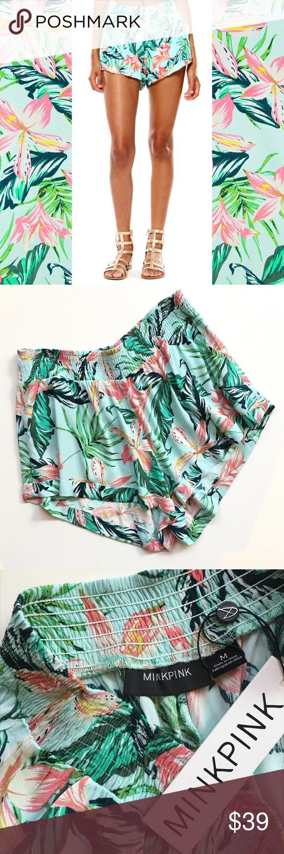 "🆕 MINKPINK Tropical Print Shorts Cute ""Sunshine Coast"" shorts from MINKPINK feature stretchy waist, hip pocket, and tropical print. True to size. Check my closet for the matching top 😉  2"" inseam 12"" rise stretchy waist, unlined 100% viscose hand wash cold; hang dry imported MINKPINK Shorts"