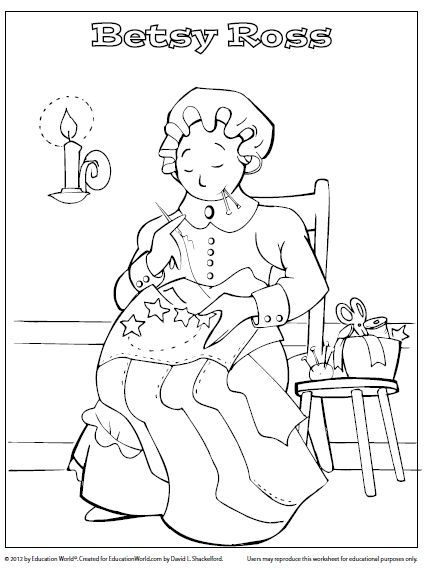 Betsy ross printable coloring pages ~ Kindergarten Betsy Ross coloring sheet   School   Pinterest
