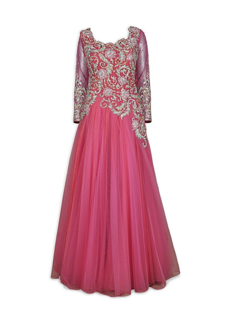 This Indo Western gown is featuring in a pink full sleeve net gown with crystal & pearl hand embroidery having work on the front and back. Possible Custom