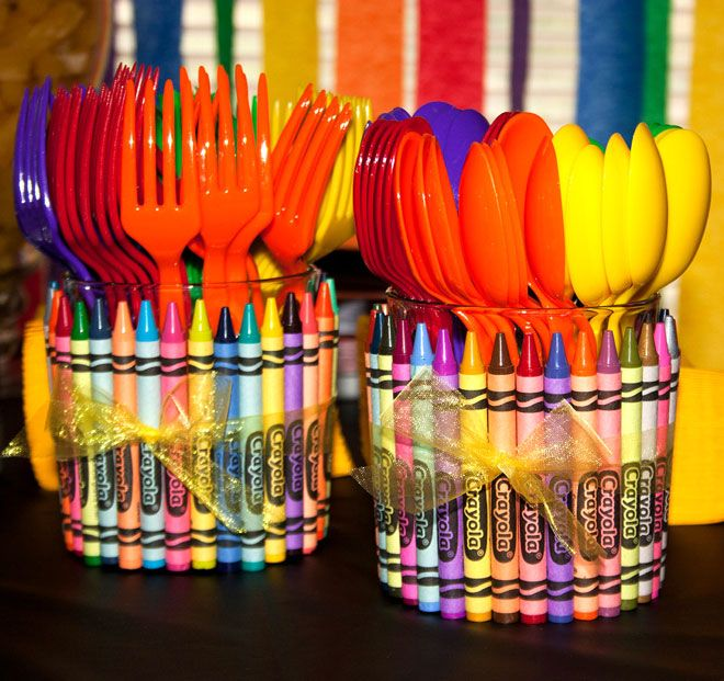 Crayon utensil holder party colorful colors crayons party ideas party favors party decorations party fun party idea pictures crayola kids party ideas kids birthday party ideas