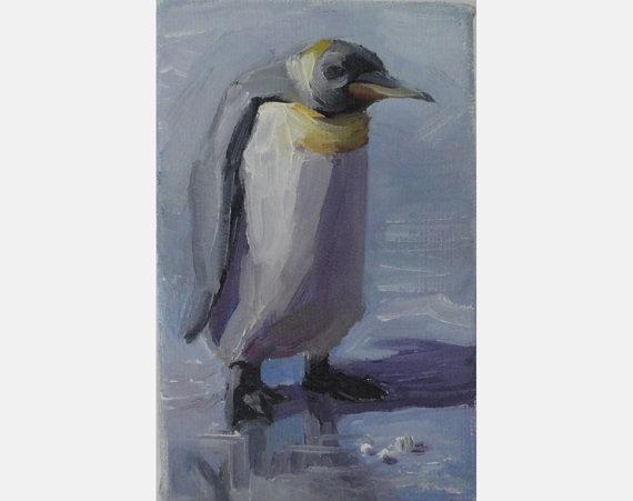 Original Oil Painting Penguin art by OilOxOil on Etsy, $75.00