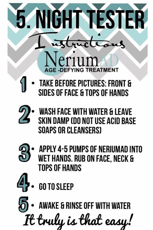 How to test your free 5-day sample of Nerium. Don't forget your before & after pictures!!  Visit me at waikiki929.nerium.com