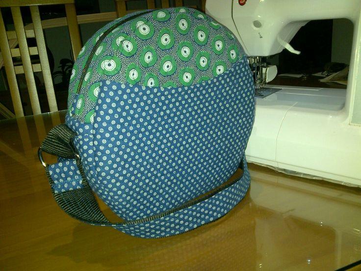 Handmade handbag blue and green shweshwe