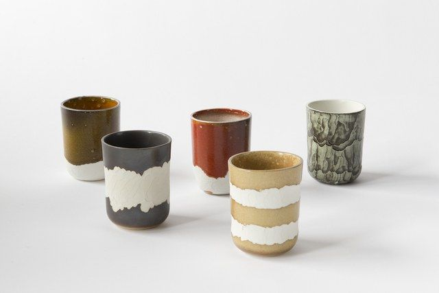 This Netherlands-based ceramics studio has earned design accolades worldwide, exhibiting at the Museum of Arts and Design in New York and Singapore, Design Museum Holon in Israel, among others. Its work emphasizes the organic process while still proudly playing with low-grade technology. Its newest line, in collaboration with Cor Unum Ceramics, Erosion, boasts a beautifully aged look that is produced by human hands in tandem with a gas burner's flame. Erosion Set, prices vary…