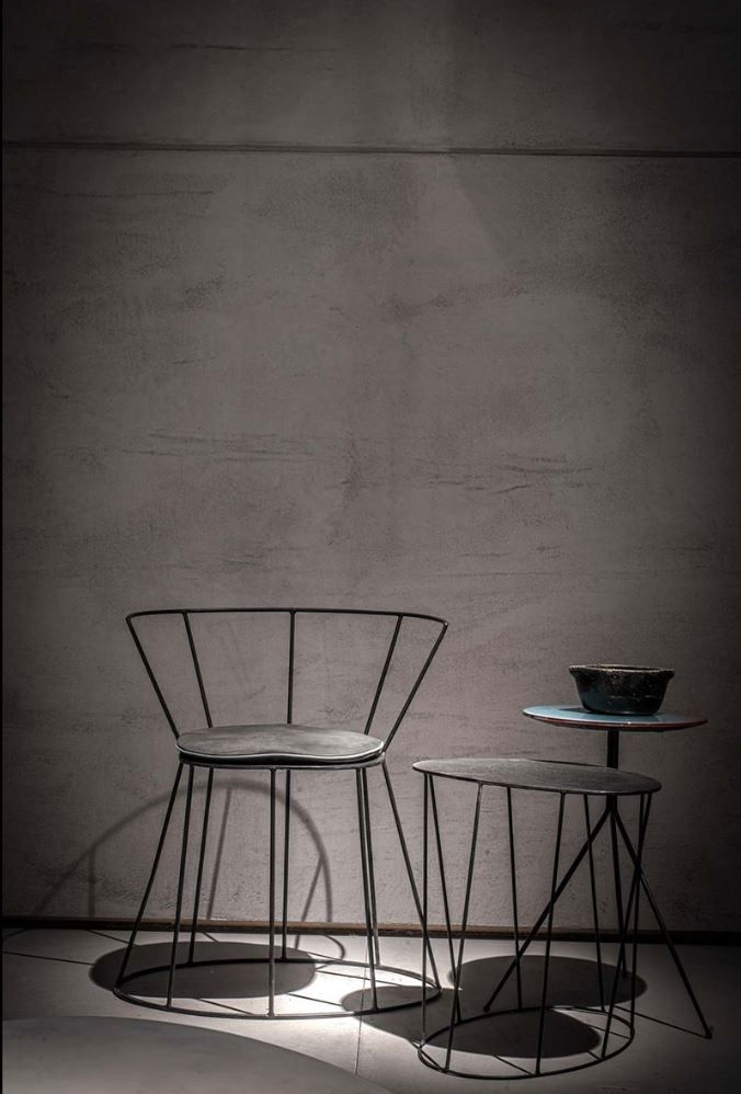 Iron chair with armrests GIBELLINA by BAXTER design Antonino Sciortino