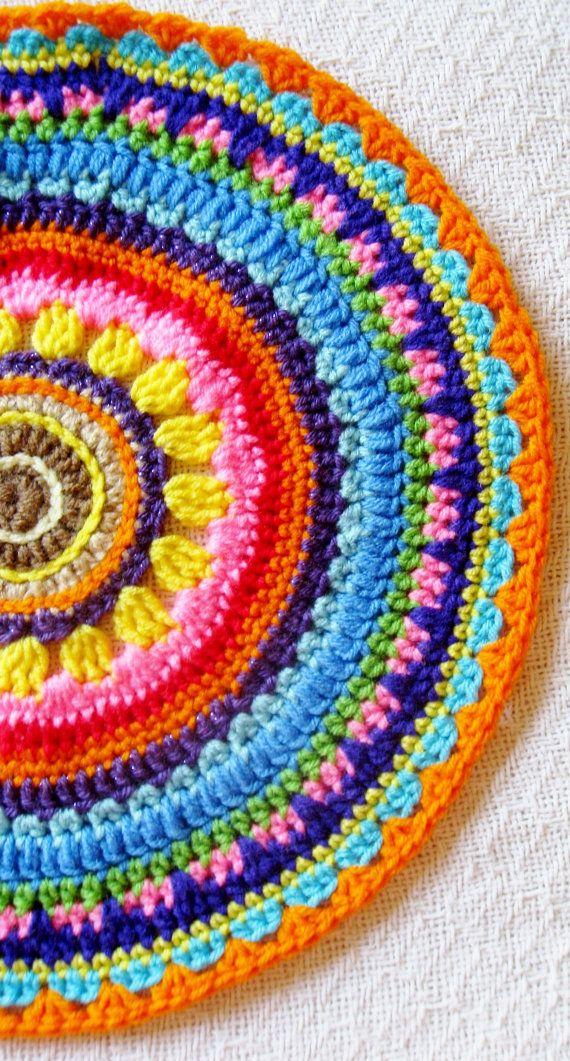 Fiber Art Summer Flower Crochet Doily Cottage Chic Mandala Pattern Design