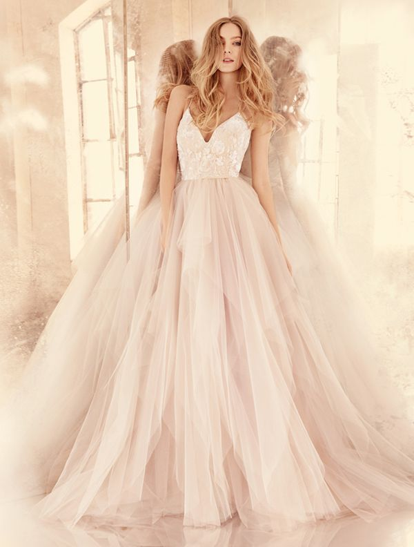 Best 25 blush pink wedding dress ideas on pinterest pink color on white 20 beautiful white wedding dresses with a touch of color junglespirit Images
