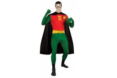 """Robin, le principal compagnon d'armes de Batman, lutte contre le crime avec son ami. Pour tous les fans de Batman et Robin, l'heure est venue pour vous de vous mettre dans la peau de votre justicier préféré !  Enfilez cette combinaison intégrale extensible rouge verte et avec la ceinture jaune affichant le """"R"""" de Robin, ajoutez la cagoule détachable permettant de voir sans être vu ainsi que la cape noire pour finaliser ce déguisement."""